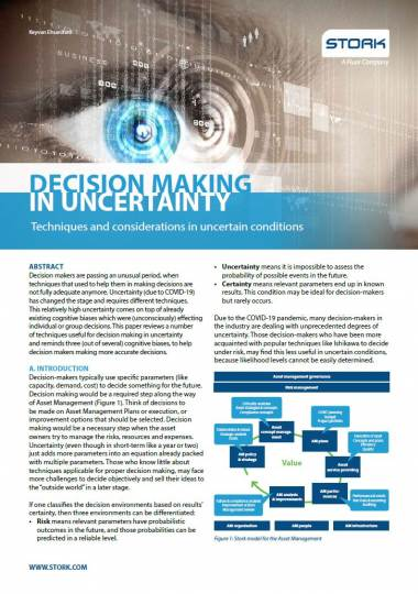 Whitepaper: Decision making in uncertainty