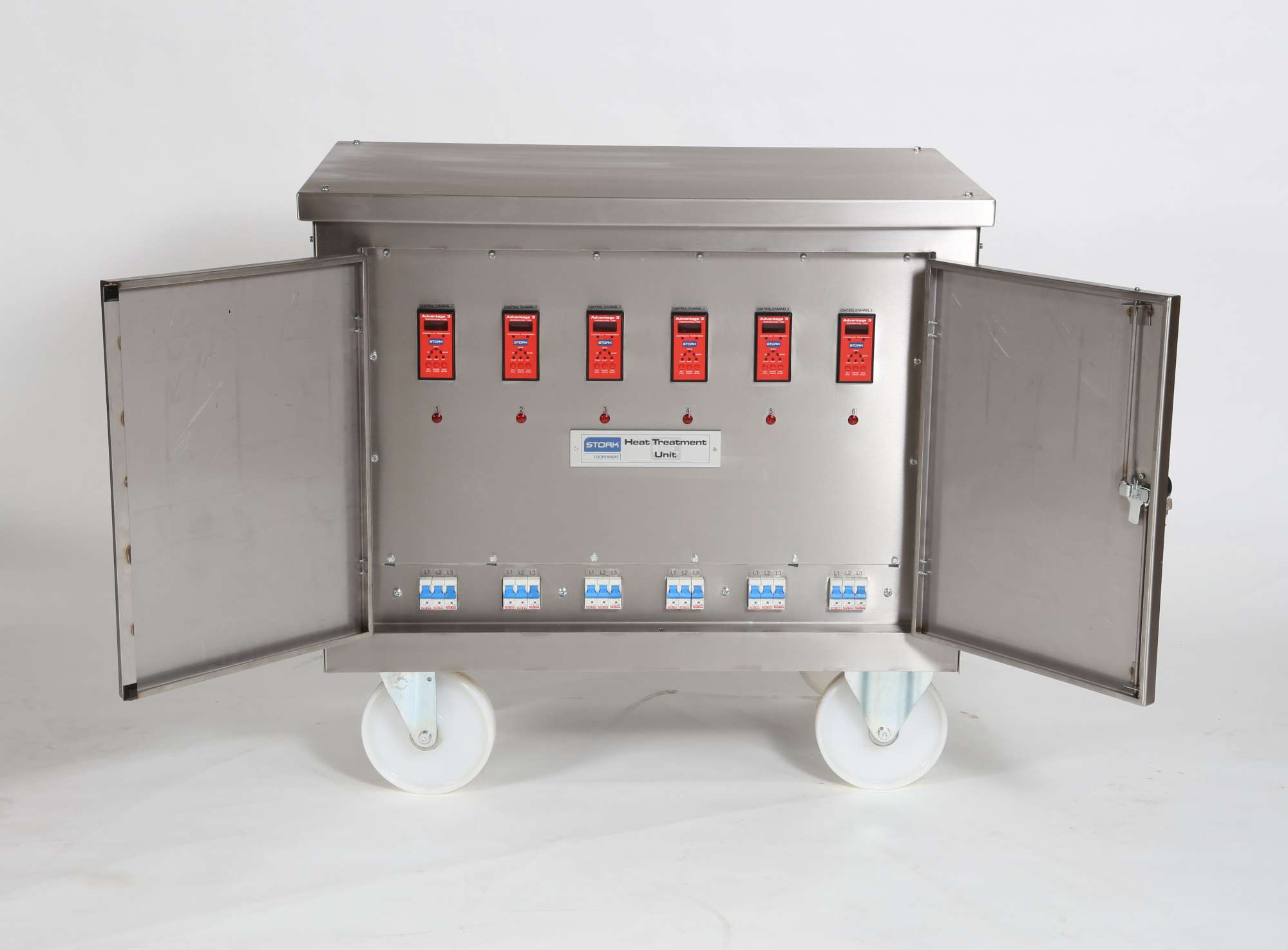 Image of Heat treatment trolley, 3 phase, 415V, 6 channel with Advantage3 temperature programmer/controllers